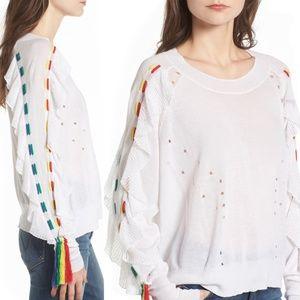Wildfox Diez Rainbow Ruffle Sleeve Sweater XS